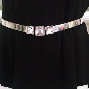 Silver Crystals Stretch Belt